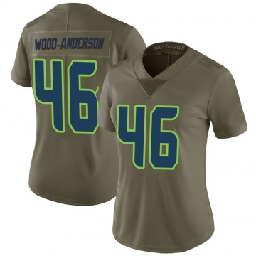 Women's Nike Seattle Seahawks Dominick Wood-Anderson Green 2017 Salute to Service Jersey - Limited