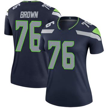Women's Nike Seattle Seahawks Duane Brown Brown Navy Jersey - Legend