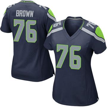 Women's Nike Seattle Seahawks Duane Brown Brown Navy Team Color Jersey - Game