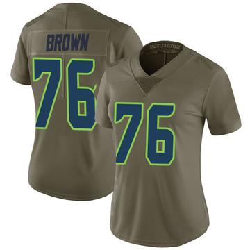Women's Nike Seattle Seahawks Duane Brown Green 2017 Salute to Service Jersey - Limited