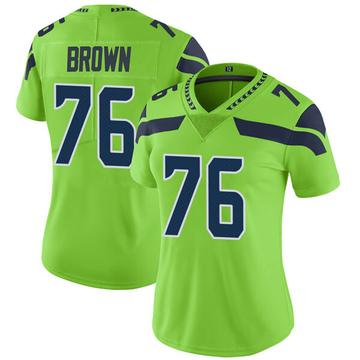 Women's Nike Seattle Seahawks Duane Brown Green Color Rush Neon Jersey - Limited