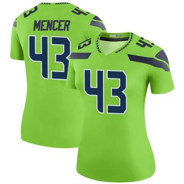 Women's Nike Seattle Seahawks Eli Mencer Green Color Rush Neon Jersey - Legend