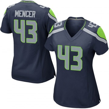 Women's Nike Seattle Seahawks Eli Mencer Navy Team Color Jersey - Game