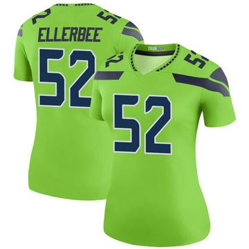 Women's Nike Seattle Seahawks Emmanuel Ellerbee Green Color Rush Neon Jersey - Legend