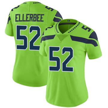 Women's Nike Seattle Seahawks Emmanuel Ellerbee Green Color Rush Neon Jersey - Limited