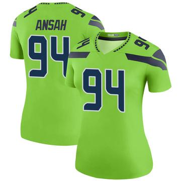 Women's Nike Seattle Seahawks Ezekiel Ansah Green Color Rush Neon Jersey - Legend
