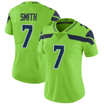 Women's Nike Seattle Seahawks Geno Smith Green Color Rush Neon Jersey - Limited