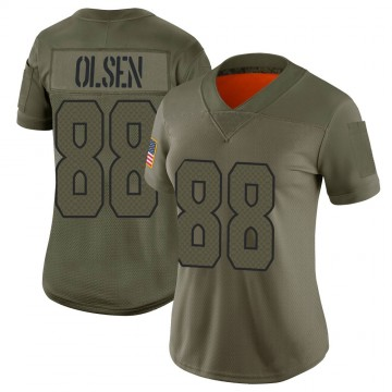 Women's Nike Seattle Seahawks Greg Olsen Camo 2019 Salute to Service Jersey - Limited