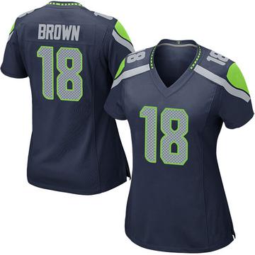Women's Nike Seattle Seahawks Jaron Brown Brown Navy Team Color Jersey - Game