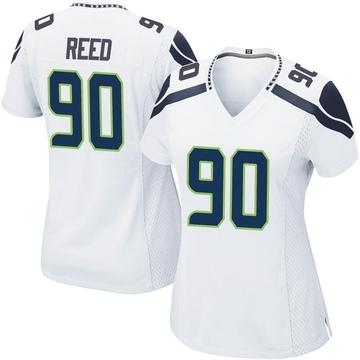 Women's Nike Seattle Seahawks Jarran Reed White Jersey - Game