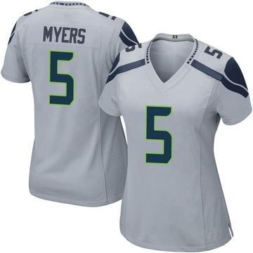 Women's Nike Seattle Seahawks Jason Myers Gray Alternate Jersey - Game