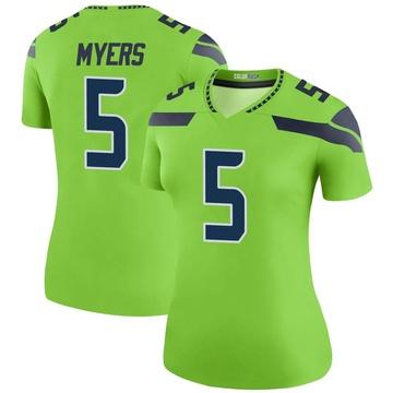 Women's Nike Seattle Seahawks Jason Myers Green Color Rush Neon Jersey - Legend