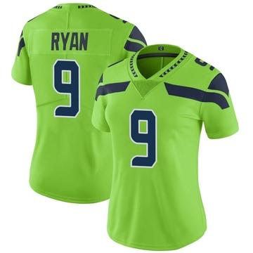 Women's Nike Seattle Seahawks Jon Ryan Green Color Rush Neon Jersey - Limited