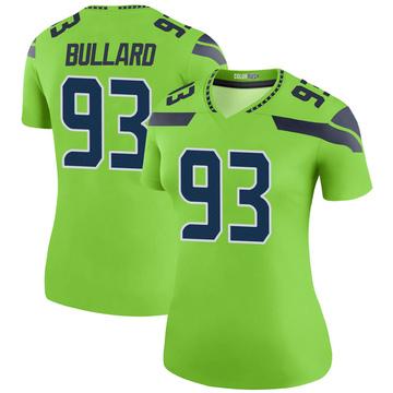 Women's Nike Seattle Seahawks Jonathan Bullard Green Color Rush Neon Jersey - Legend