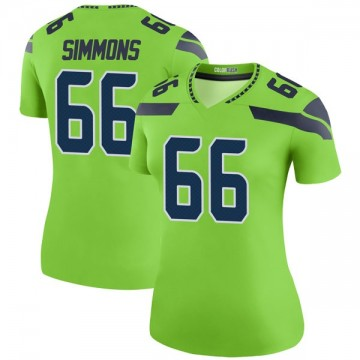 Women's Nike Seattle Seahawks Jordan Simmons Green Color Rush Neon Jersey - Legend