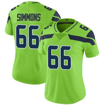 Women's Nike Seattle Seahawks Jordan Simmons Green Color Rush Neon Jersey - Limited
