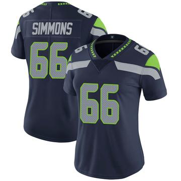 Women's Nike Seattle Seahawks Jordan Simmons Navy 100th Vapor Jersey - Limited