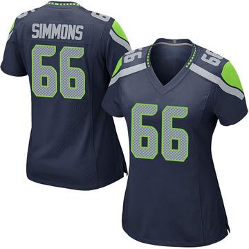 Women's Nike Seattle Seahawks Jordan Simmons Navy Team Color Jersey - Game