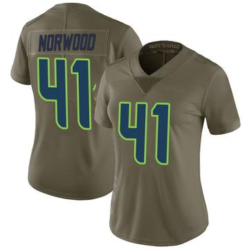 Women's Nike Seattle Seahawks Josh Norwood Green 2017 Salute to Service Jersey - Limited