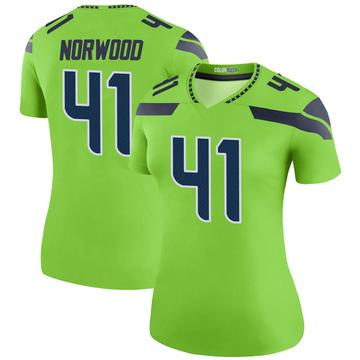 Women's Nike Seattle Seahawks Josh Norwood Green Color Rush Neon Jersey - Legend