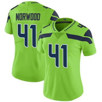 Women's Nike Seattle Seahawks Josh Norwood Green Color Rush Neon Jersey - Limited
