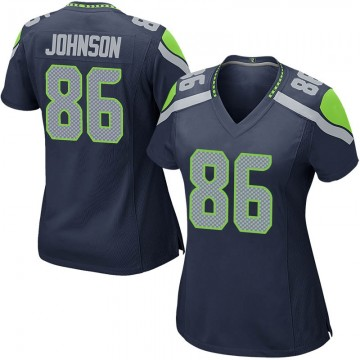 Women's Nike Seattle Seahawks Justin Johnson Navy Team Color Jersey - Game