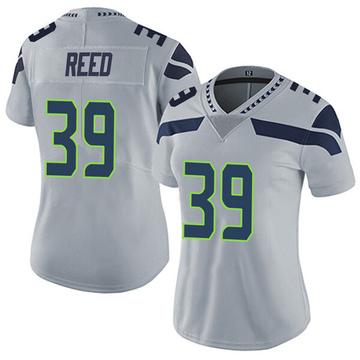 Women's Nike Seattle Seahawks Kalan Reed Gray Alternate Vapor Untouchable Jersey - Limited
