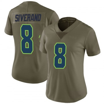 Women's Nike Seattle Seahawks Kemah Siverand Green 2017 Salute to Service Jersey - Limited