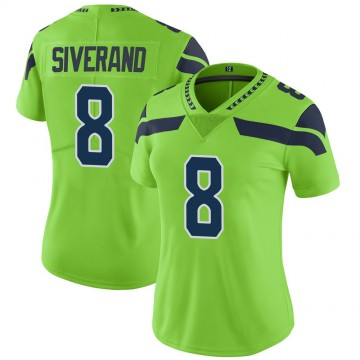 Women's Nike Seattle Seahawks Kemah Siverand Green Color Rush Neon Jersey - Limited