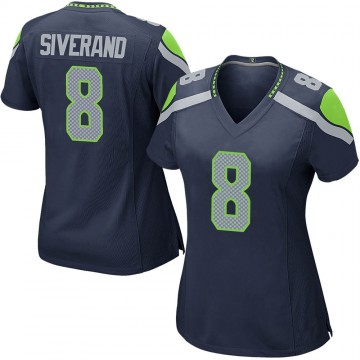 Women's Nike Seattle Seahawks Kemah Siverand Navy Team Color Jersey - Game
