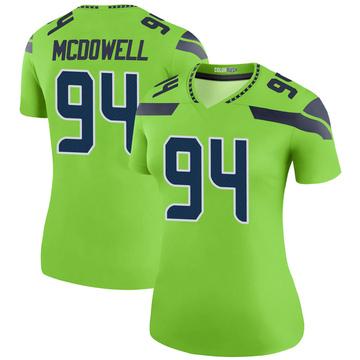 Women's Nike Seattle Seahawks Malik McDowell Green Color Rush Neon Jersey - Legend