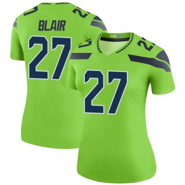 Women's Nike Seattle Seahawks Marquise Blair Green Color Rush Neon Jersey - Legend