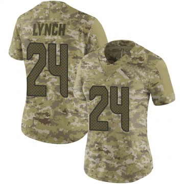 Women's Nike Seattle Seahawks Marshawn Lynch Camo 2018 Salute to Service Jersey - Limited