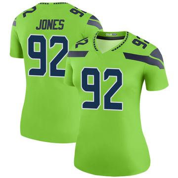 Women's Nike Seattle Seahawks Nazair Jones Green Color Rush Neon Jersey - Legend