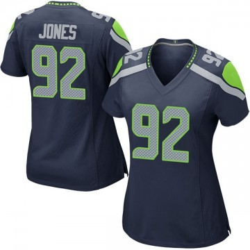 Women's Nike Seattle Seahawks Nazair Jones Navy Team Color Jersey - Game