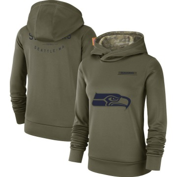 Women's Nike Seattle Seahawks Olive 2018 Salute to Service Team Logo Performance Pullover Hoodie -