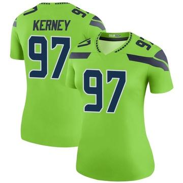 Women's Nike Seattle Seahawks Patrick Kerney Green Color Rush Neon Jersey - Legend