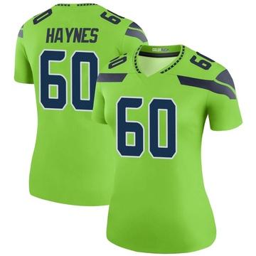 Women's Nike Seattle Seahawks Phil Haynes Green Color Rush Neon Jersey - Legend