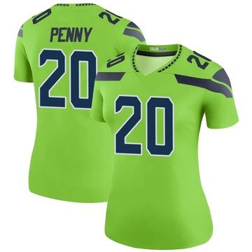 Women's Nike Seattle Seahawks Rashaad Penny Green Color Rush Neon Jersey - Legend