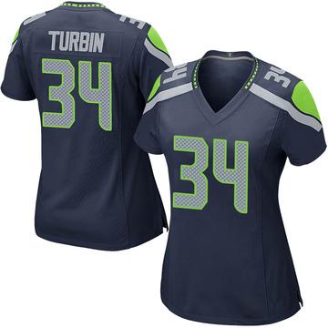Women's Nike Seattle Seahawks Robert Turbin Navy Team Color Jersey - Game
