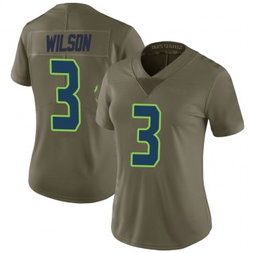 Women's Nike Seattle Seahawks Russell Wilson Green 2017 Salute to Service Jersey - Limited