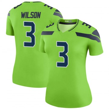Women's Nike Seattle Seahawks Russell Wilson Green Color Rush Neon Jersey - Legend