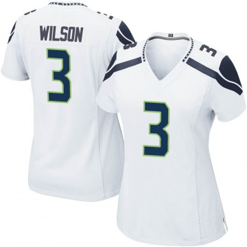 Women's Nike Seattle Seahawks Russell Wilson White Jersey - Game