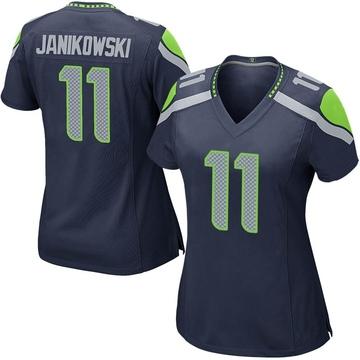 Women's Nike Seattle Seahawks Sebastian Janikowski Navy Team Color Jersey - Game