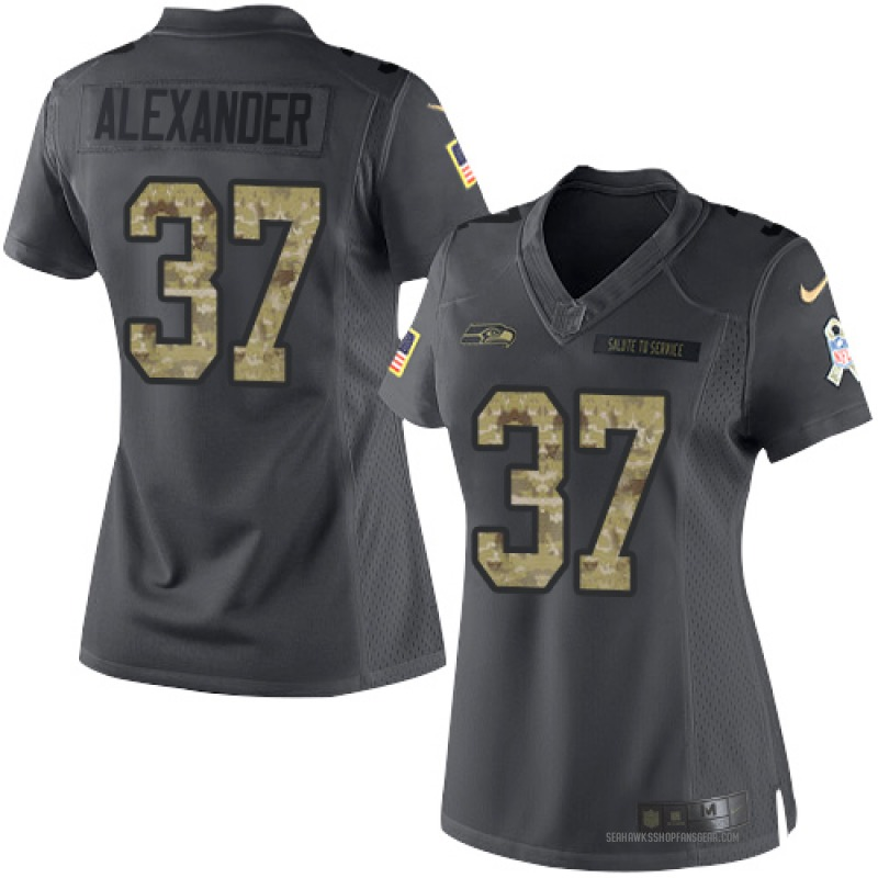 premium selection 36b37 7dc0e Women's Nike Seattle Seahawks Shaun Alexander Black 2016 Salute to Service  Jersey - Limited
