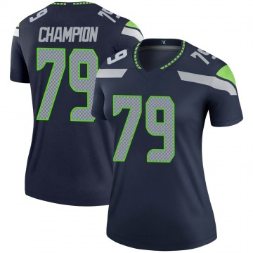 Women's Nike Seattle Seahawks Tommy Champion Navy Jersey - Legend