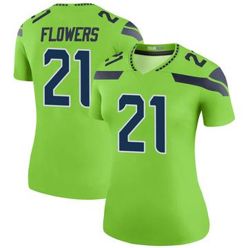 Women's Nike Seattle Seahawks Tre Flowers Green Color Rush Neon Jersey - Legend