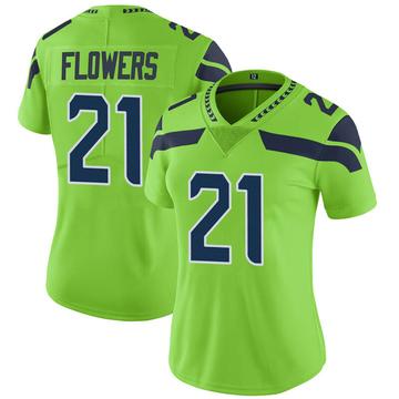 Women's Nike Seattle Seahawks Tre Flowers Green Color Rush Neon Jersey - Limited