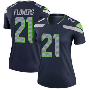 Women's Nike Seattle Seahawks Tre Flowers Navy Jersey - Legend