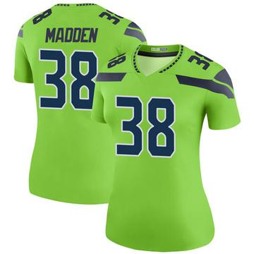 Women's Nike Seattle Seahawks Tre Madden Green Color Rush Neon Jersey - Legend